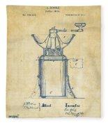 1873 Coffee Mills Patent Artwork Vintage Fleece Blanket by Nikki Marie Smith