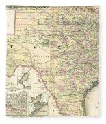 1873 Texas Map By Colton Fleece Blanket