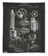 1875 Colt Peacemaker Revolver Patent Artwork - Gray Fleece Blanket