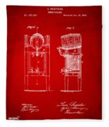 1876 Beer Keg Cooler Patent Artwork Red Fleece Blanket