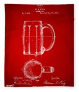 1876 Beer Mug Patent Artwork - Red Fleece Blanket