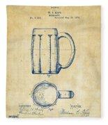 1876 Beer Mug Patent Artwork - Vintage Fleece Blanket