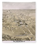 1876 Birds Eye Map Of Mckinney Texas Fleece Blanket