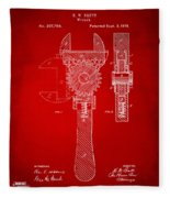 1878 Adjustable Wrench Patent Artwork - Red Fleece Blanket