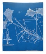 1879 Quinby Aerial Ship Patent Minimal - Blueprint Fleece Blanket