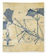 1879 Quinby Aerial Ship Patent Minimal - Vintage Fleece Blanket