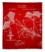 1879 Quinby Aerial Ship Patent - Red Fleece Blanket