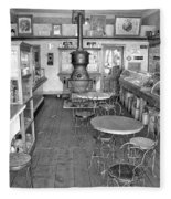 1880 Drug Store Black And White Fleece Blanket