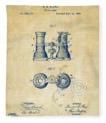 1882 Opera Glass Patent Artwork - Vintage Fleece Blanket