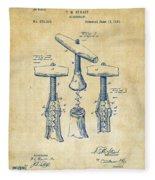 1883 Wine Corckscrew Patent Artwork - Vintage Fleece Blanket
