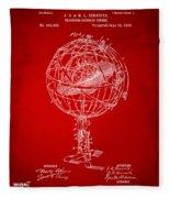 1885 Terrestro Sidereal Sphere Patent Artwork - Red Fleece Blanket