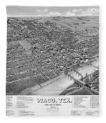 1886 Vintage Map Of Waco Texas Fleece Blanket
