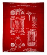 1889 First Computer Patent Red Fleece Blanket