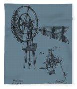 1889 Windmill On Blue Fleece Blanket
