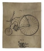 1890 Bicycle Patent Fleece Blanket