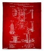 1890 Bottling Machine Patent Artwork Red Fleece Blanket