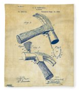 1890 Hammer Patent Artwork - Vintage Fleece Blanket