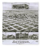 1890 Vintage Map Of Seymour Texas Fleece Blanket