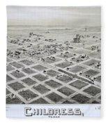 1890 Vintage Map Of Childress Texas Fleece Blanket