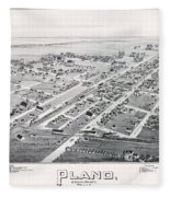 1890 Vintage Map Of Plano Texas Fleece Blanket