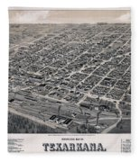 Vintage Perspective Map Of Texarkana Fleece Blanket