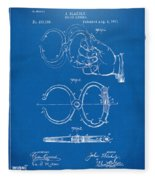 1891 Police Nippers Handcuffs Patent Artwork - Blueprint Fleece Blanket