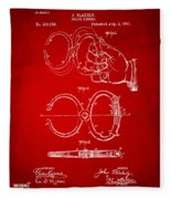 1891 Police Nippers Handcuffs Patent Artwork - Red Fleece Blanket