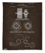 1891 Tesla Electro Magnetic Motor Patent Espresso Fleece Blanket
