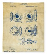 1892 Barker Camera Shutter Patent Vintage Fleece Blanket
