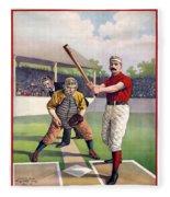 1895 Batter Up At Home Plate Fleece Blanket