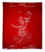 1896 Dental Chair Patent Red Fleece Blanket