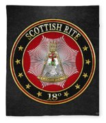 18th Degree - Knight Rose Croix Jewel On Black Leather Fleece Blanket