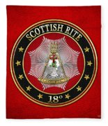 18th Degree - Knight Rose Croix Jewel On Red Leather Fleece Blanket