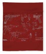 1900 Landstad Automatic Revolver Patent Fleece Blanket