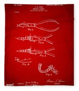1903 Dental Pliers Patent Red Fleece Blanket