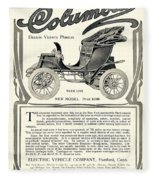 1907 - Columbia Victoria Phaeton Electric Automobile Advertisement Fleece Blanket