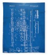 1908 Flute Patent - Blueprint Fleece Blanket