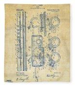 1909 Flute Patent - Vintage Fleece Blanket
