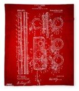 1909 Flute Patent In Red Fleece Blanket