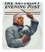 1910 - Saturday Evening Post Magazine Cover - February - Color Fleece Blanket