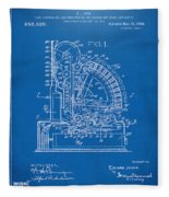 1910 Cash Register Patent Blueprint Fleece Blanket