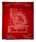 1910 Cash Register Patent Red Fleece Blanket