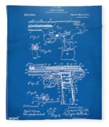 1911 Automatic Firearm Patent Artwork - Blueprint Fleece Blanket