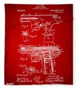 1911 Automatic Firearm Patent Artwork - Red Fleece Blanket