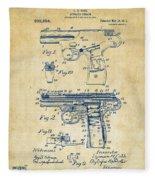 1911 Automatic Firearm Patent Artwork - Vintage Fleece Blanket