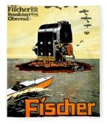 1913 - Fischer Magneto German Advertisement Poster - Color Fleece Blanket