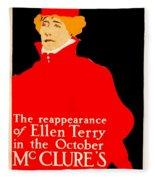 1913 - Mcclures Magazine Poster Advertisement - Ellen Terry - Color Fleece Blanket