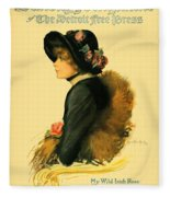 1913 - Detroit Free Press - Sunday Magazine Cover - Color Fleece Blanket