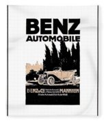 1914 - Benz Automobile Poster Advertisement - Color Fleece Blanket