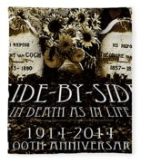 1914 - 2014 Side By Side - In Death As In Life Fleece Blanket